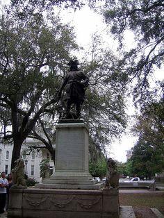 Statue of James Oglethorpe founder of Savannah 1732, Chippewa Square, Savannah.