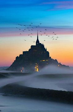 Tag a travel buddy Castle of Darkness Mont Saint-Michel. Photo by by planetwanderlust Mont Saint Michel France, Le Mont St Michel, France Photography, Travel Photography, Nature Photography, Old Poster, France Photos, World Photo, Beautiful Places In The World