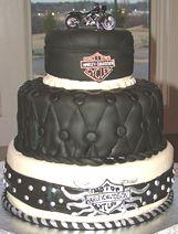 Harley Davidson inspired wedding cake