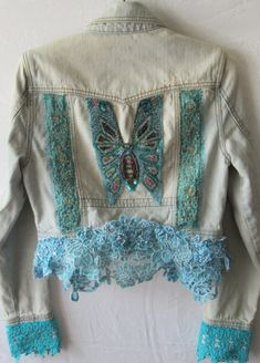Wearable Art, Upcycled Cropped Denim Jacket with Art Deco Beaded Butterfly at Back, Boho Emboidery Applique, Beaded Dyed Chantilly Lace, XS