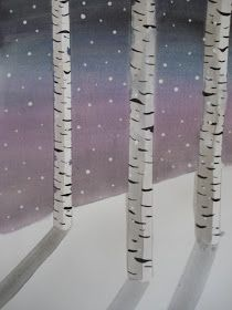 a faithful attempt: Birch Trees in Winter Watercolors