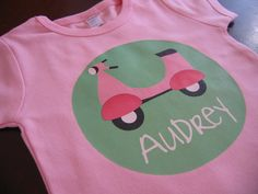 Personalized GIRL VESPA Baby or Toddler Tee  Available par ispotyou, $20,00