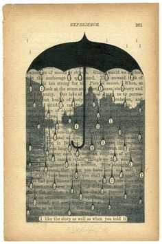 * umbrella with rain drops on the printed page
