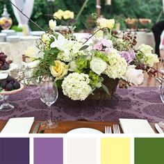New Wedding Color Combinations for Eggplant + Lilac + White + Yellow Iris + Dark Green Lemon Green Colour, Green Colour Palette, Green Colors, Color Palate, Wedding Color Combinations, Wedding Color Schemes, Color Combos, Yellow Centerpieces, Party Centerpieces