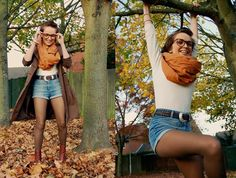 Glasses, Bracelets From Angel, Islington, Mackintosh, Pattern Cutting Fabric, White Floral Textured Top, My Favourite Brown Leather Belt, Denim Hot Pants, Khaki Tights, Rust Brown Ankle Boots