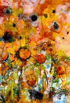 Abstract Sunflowers Watercolor & Ink by Ginette Callaway.  I have crossed over to the flower side.