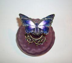 Vintage Christalleria Ann Primrose Murano Butterfly Perfume Bottle