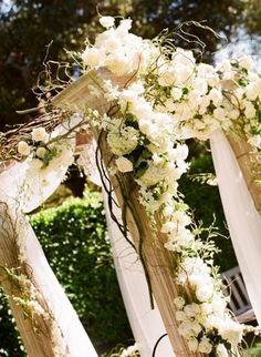 Gazeebo of flowers and drapes.