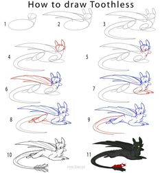 How to Draw Toothless Step by Step Drawing Tutorial with Pictures Drawing Lessons, Drawing Techniques, Drawing Tips, Drawing Sketches, Painting & Drawing, Drawing Drawing, Drawing Tutorials, Toothless Sketch, How To Draw Toothless