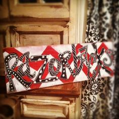 Distressed Razorback chevron hand painted sign. $35.00, via Etsy.
