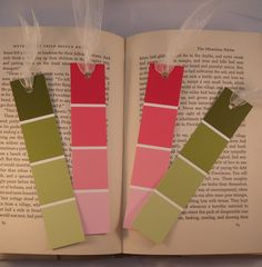 Upcycled paint chips into bookmarks DIY  Cute idea! Guess I have a few of these!!!