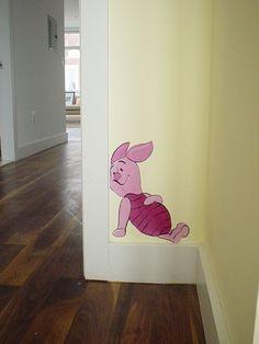 Handpainted Piglet in the Winnie the Pooh room - baby's room wall mural.