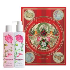 At long last—luxurious cleansing and essential moisturising in one spectacular package. Our Rosewater Bath & Shower Gel and Rosewater Body Lotion come conveniently paired in a festive and bold botanical gift box. Brilliant for family or friends, or simply for your lovely self.