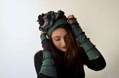 Bang hat. Green purple and strepped. by Artedicarte on Etsy