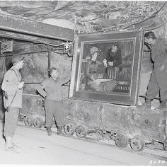 """4 August 1945 - 45 cases of art  were found in the Merkers salt mine vault. All of the most valuable pieces from Berlin's museums. 400 tons of art in total. It took 26 ten-ton trucks to transfer the art to Frankfurt. Patton wrote about what he saw in the mine,""""A number of suitcases filled with jewelry, such as silver and gold cigarette cases, wrist-watch cases, spoons, forks, vases, gold-filled teeth, false teeth, etc. acquired by bandit methods."""" Much from concentration camps."""