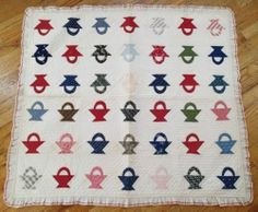 "Incredible Antique c1880 Smallscale Basket Baby Crib or Doll Quilt 46""  square.      ~♥~"