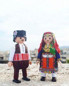 Playmobils with Greek folk costumes from Kavakli, Eastern Romylia by Petros Kaminiotis Folk Costume, Costumes, Greek Language, Greek Culture, Folk Dance, Kai, Harajuku, Cartoon, Traditional