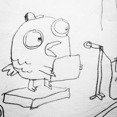 School kid bird gives a speech #doodle #bird #childrensillustration #illustration
