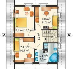 Eklerka - murowana – beton komórkowy - Rzut poddasza Tiny House, Floor Plans, Homes, Houses, Tiny Houses, Home, Computer Case, Floor Plan Drawing, House Floor Plans