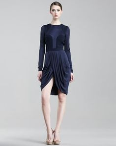 J. Mendel Jersey Wrap-Skirt Dress - Good color.  I like the combo of Romanesque draping and bustier bodice