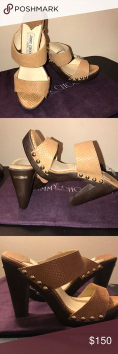 JIMMY CHOO SNAKESKIN SANDALS These pre-loved beauties are in great condition. Heel height is 4 1/4 inch. Tan snakeskin material with metal stud detailing, these shoes are absolutely gorgeous with a lot of life remaining. They retail between $600-$725. Size 39. Jimmy Choo Shoes Sandals
