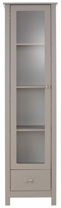 In folgenden Farben erhältlich:  Korpus/Front: grau, Korpus/Front: weiß,  Details:  3 verstellbare Holzböden, Fachinnenmaße (B/T/H): ca. 72/31/147 cm, Türen mit Glaseinsatz, 1 Schublade, Schubladeninnenmaße (B/T/H): ca. 33/29/16 cm, Im Landhaus-Stil, Schubkasten auf Metallauszügen, Metallgriffe,  Maße:  Maße (B/T/H): ca. 48/35/180 cm, Alles ca.-Maße (inkl. Fußhöhe),  Informationen zu Lieferumfa...