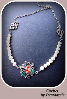 Necklace made with cultured pearls. Tibetan silver flower is accessorized with crystals in various shades. Beaded Necklace, Necklaces, Silver Flowers, Cultured Pearls, Shades, Crystals, My Style, Wedding, Jewelry