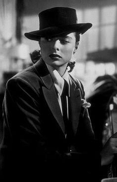 """Notorious,"" Ingrid Bergman. 1946 RKO I think that this is my favorite Hitchcock film; The beauty of the stars, the costumes, the sets and above all the PLOT! Love!"