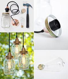 How to Make Mason Jars Pendant Lamp - DIY & Crafts - Handimania