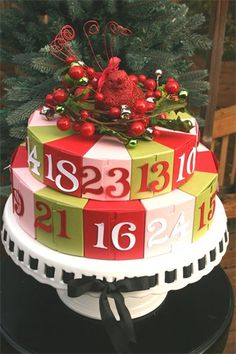 """Love this Advent """"cake"""" it is made of boxes. Beautiful Christmas Cards, Christmas Love, Christmas Crafts, Cake Slice Boxes, Cricut Cake, Bolo Cake, Christmas Calendar, Paper Cake, Cake Boss"""