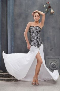 (CLICK IMAGE TWICE FOR PRICING :) #women #womendresses #eveninggown #cocktaildress #wedding #weddinggown #eveningdresses #prom Graceful Sheath Sweetheart Floor-length Lace and Chiffon Split Prom Dress SSC4755-TB