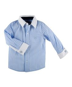 Look what I found on #zulily! Blue Stripe French Cuff Button-Up - Toddler & Boys #zulilyfinds