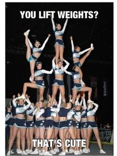 Cheer Stunt. You lift weights? Haha. That's cute.:P We lift people.