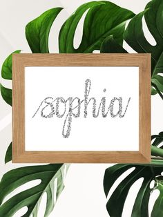 Beautiful floral calligraphy, can be personalised to a word you would like to lighten up any room! Calligraphy Text, Personalised Prints, Different Words, International Paper Sizes, Mandala Design, Zentangle, How To Draw Hands, Stationery, Wall Art