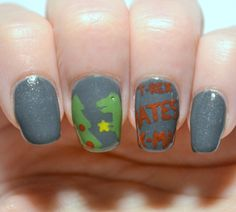 """Challenge Your Nail Art 12 Days of Christmas, Day 6 - Ugly sweater.  Based on a """"t-rex hates Christmas"""" sweater"""