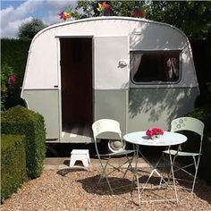 1960's Caravan-Blue Gray & Strong White