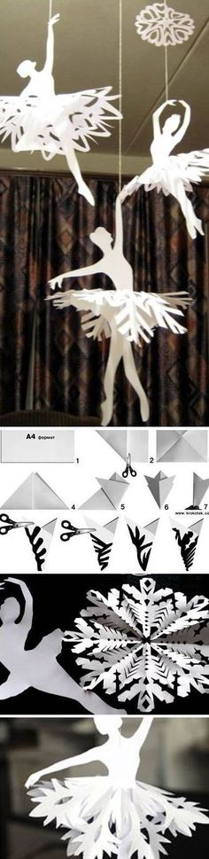 Learn How To Make Paper Snowflake Ballerinas Snowflakes Holiday Crafts, Fun Crafts, Diy And Crafts, Crafts For Kids, All Things Christmas, Christmas Time, Xmas, Diy Paper, Paper Art