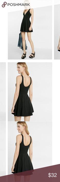 Express deep v black skater dress Express deep v black skater dress w shorts under. Only worn once Express Dresses Mini
