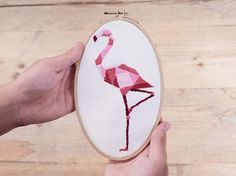 Geometric Flamingo | Have you always been fascinated with embroidery? We've gathered 17 of the easiest and most beautiful embroidery designs you can try making this weekend!