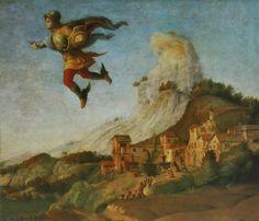 Piero Di Cosimo, Andromède libérée par Persée, 1510, détail. Persée volant devant le mont Atlas