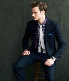 Men's Wear - Navy suit and patterned dress shirt