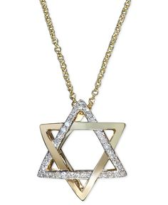 Effy Diamond Diamond Star of David Necklace (1/10 ct. t.w.) in 14k Gold