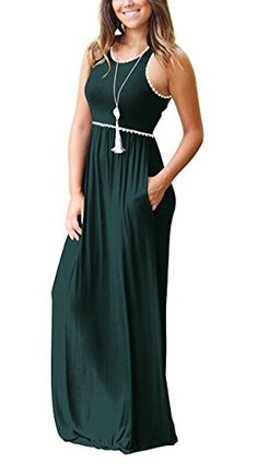 WEACZZY-Womens-Sleeveless-Loose-Plain-Vacation-Days-Maxi-Dresses-Casual-Long-Dresses-with-Pockets Plus Size Maxi Dresses, Casual Dresses, Short Sleeve Dresses, Long Dresses, Beach Dresses, Women's Dresses, Fashion Dresses, Long Sleeve, Swing Rock