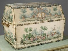 Chest made for the dauphin, Louis Josephin (second child of Marie Antoinette and Louis XVI) on the occassion of his birth.  The interior of the chest is lined with white taffeta.  The exterior has been painted in an allegorical style with mythological subjects and scenes of popular rejoicing. The figures of Louis XVI and Marie Antoinette crowned by Cupids have been painted on the lid.   Learn more about Marie Antoinette: http://leahmariebrownhistoricals.blogspot.com