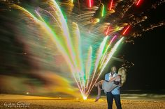 Marriage proposal in Cancun with fireworks