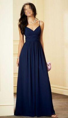 Simple Light Navy Blue Prom Dress,Spaghetti Straps Evening Dress,Floor Length Prom Dress