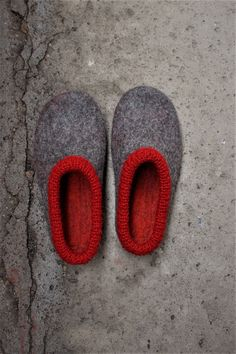 Felted slippers for Men with rubber soles