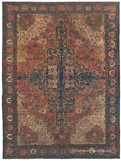 Ferahan Sarouk, 10ft 8in x 14ft 1in, Circa 1850.   The grand medallion of this superb early antique Ferahan Sarouk carpet immediately captures the viewer's attention. The entire design is highly original, and its color palette, distinguished by terra cotta and apple green tones, glows with the patina of age. Myriad petite blossoms add softness and delicacy that create a deeply compelling contrast to the powerful imagery.