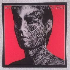 ROLLING STONES Tattoo You Record Cover Art Ceramic Tile Coaster with Black Border
