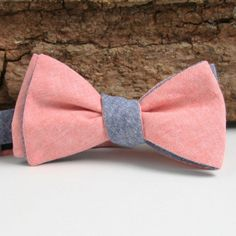 classic navy & pink chambray bow tie / general knot & co.